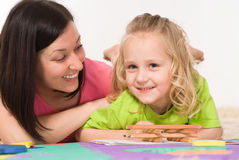 Beautiful mom and daughter stock images