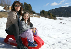 Beautiful mom and little girl in the mountain Stock Image