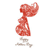 Beautiful mom to be floral silhouette Stock Images