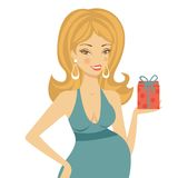 Beautiful mom to be holding gift box Stock Photography