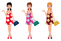 Beautiful moms-to-be with different color clothing Stock Images