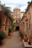 Beautiful The Monastery of Agia Triada in Crete, Greece Stock Photos