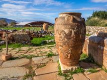 Beautiful Money Pithos. Greece. Crete. Minoy pithos in front of ruins stock images