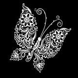 Beautiful monochrome black and white butterfly.  tattoo design or mehandi. Royalty Free Stock Photography