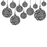 Beautiful monochrome Black and White Christmas background with Christmas balls Hanging . Stock Photography