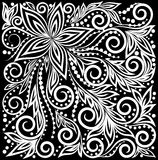 Beautiful monochrome black and white Decorative graphic curly background with flowers and leaves pattern. Floral design for greeting card and invitation of Stock Photography