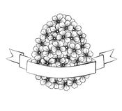 Beautiful monochrome black and white Easter greeting card with flowers graphics in the form of eggs with ribbon labeling. Hand-drawn contour lines and strokes Stock Photo