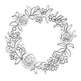 Beautiful monochrome black and white Floral circular frame. Royalty Free Stock Photography