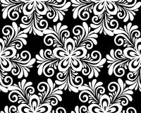Beautiful monochrome black and white floral seamless pattern. Royalty Free Stock Photography