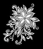 Beautiful monochrome black and white flowers and leaves . Royalty Free Stock Photos