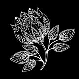 Beautiful monochrome black and white flowers and leaves isolated. Royalty Free Stock Images