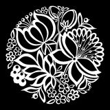 Beautiful monochrome black and white flowers and leaves isolated. Stock Photography