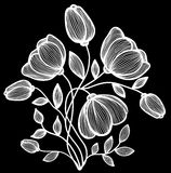 Beautiful monochrome black and white flowers and leaves isolated. Royalty Free Stock Image