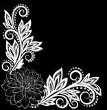 Beautiful monochrome black and white lace flower in the corner. With space for your text Royalty Free Stock Photo