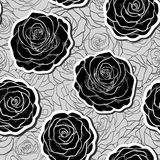 Beautiful monochrome black and white lace flower in the corner. With space for your text Royalty Free Stock Photos