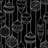 Beautiful monochrome black and white Pattern With Christmas Balls Stock Photo