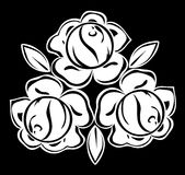 Beautiful monochrome black and white roses and leaves isolated. Royalty Free Stock Image