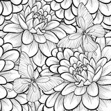 Beautiful monochrome, black and white seamless background with flowers dahlia. Stock Photo