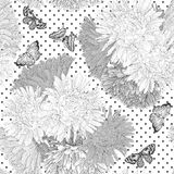 Beautiful monochrome black and white  seamless background with flowers. Royalty Free Stock Photos