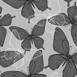 Beautiful monochrome black and white seamless background with flying butterflies Royalty Free Stock Photo