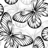 Beautiful monochrome black and white seamless background with flying butterflies. Stock Photo
