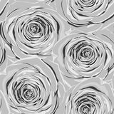 Beautiful monochrome, black and white seamless background with gray roses. Royalty Free Stock Photos