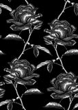 Beautiful monochrome, black and white seamless background with gray roses with stem and leaves. Stock Photos