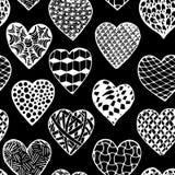 Beautiful monochrome, black and white seamless background hand drawn hearts. Stock Image