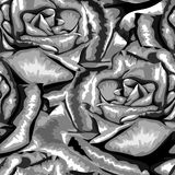 Beautiful monochrome, black and white seamless background with roses. Royalty Free Stock Image