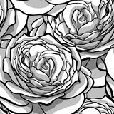 Beautiful monochrome, black and white seamless background with roses. Royalty Free Stock Photos