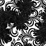Beautiful monochrome black and white seamless pattern with aster flowers and abstract floral swirls Stock Photography