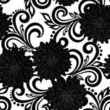 Beautiful monochrome black and white seamless pattern with dahlia flowers and abstract floral swirls Royalty Free Stock Photography