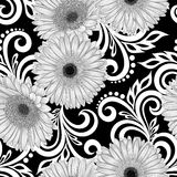 Beautiful monochrome, black and white seamless pattern with gerbera flowers and abstract floral swirls Royalty Free Stock Photography