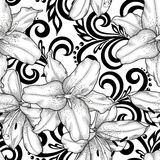 Beautiful monochrome black and white seamless pattern with lilies flowers and abstract floral swirls Royalty Free Stock Photo