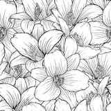Beautiful monochrome, black and white seamless pattern with lilies. Hand-drawn contour lines. vector illustration