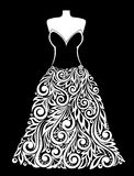 Beautiful monochrome black and white Silhouette of dress with a floral element. Royalty Free Stock Photos