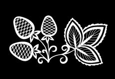 Beautiful monochrome black and white strawberry, flower with leaves and swirls . Royalty Free Stock Photo