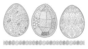 Cliparts for coloring book pages with eggs royalty free stock photography