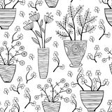 Beautiful monochrome Flowers In Pots, Vector seamless pattern. Stock Images