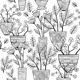 Beautiful monochrome Flowers In Pots, Vector seamless pattern. Royalty Free Stock Photo