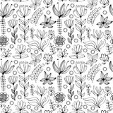 Beautiful monochrome Flowers set, Vector seamless pattern. Stock Image