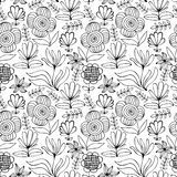 Beautiful monochrome Flowers set, Vector seamless pattern. Royalty Free Stock Photos