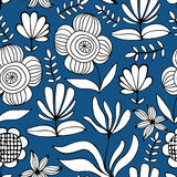 Beautiful monochrome Flowers set, Vector seamless pattern. Stock Images