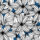 Beautiful monochrome Flowers set, Vector seamless pattern. Stock Photo