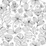 Beautiful monochrome Flowers set, Vector seamless pattern. Royalty Free Stock Photo