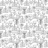 Beautiful monochrome Flowers set. Vector seamless pattern. Beautiful Flowers set. Vector Illustration Stock Photography