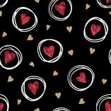 Beautiful monochrome gold, red, black and white seamless pattern with doodling sketch heart. Stock Photography