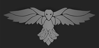 Mystic art with raven on dark background stock illustration