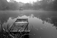Beautiful monochrome misty landscape over lake Stock Photography