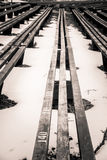 A beautiful monochrome pattern of wooden benches Stock Images